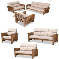 Mission Style Taupe Fabric And Walnut Brown Wood Chair Loveseat Or 3 Pc Sofa Set