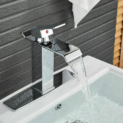 Bwe Chrome Bathroom Basin Sink Brass Faucet Waterfall Spout With 6 Inch Cover