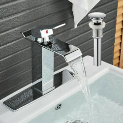 Bwe Chrome Bathroom Basin Sink Brass Faucet Waterfall Spout With 6 Cover Drain