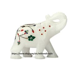 Handmade Elephant Figurine White Alabaster Marble And Stones Gifts And Decor