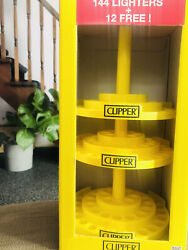 Clipper Lighter Display Stand 3 Tier Carousel Yellow Revolves Hold 144 Lighter