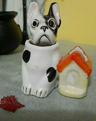 Antique Porcelain Dog, Head Moves,toothpick Holder,marked But Can't Read It Not