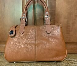 MINT Dooney and Bourke Brown All Weather Pebbled Leather Medium Bucket Satchel $35.00