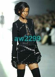 03a Runway 2 Piece Mini Skirt And Crop Jacket Suit 42 Rare New