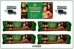 4 Pack Pine Mountain Fire Logs 3 Hour Burn Time, Campfires, Fireplaces New