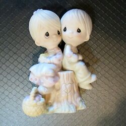 Precious Moments Love One Another Figurine With Box Boy Girl Tree Stump E-1376