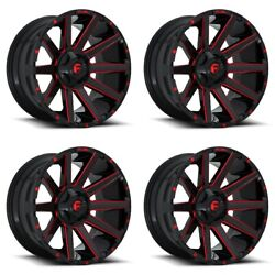 Set 4 22x10 Fuel Contra D643 Black Candy Red Rims 8x170 -18mm For Ford W/ Lugs