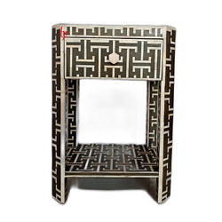 Personalized Bone Inlay Bedside Table