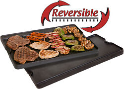 Two Burner Griddle Double Sided Cast Iron Stovetop Grill Plate Reversible Pan 24