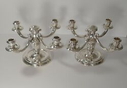 Pair French Art Deco Candelabra In Silver Plate By Ravinet D'enfert