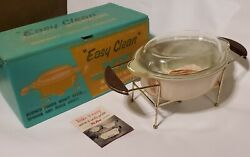 Fire-king Easy Clean 1.5 Qt Copper Tint Oval Casserole Candle Warmer Set New Nos