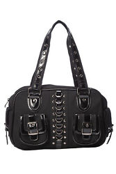 Lost Queen RHAPSODY Gothic Punk Emo Black Satchel Bag With Pockets $34.97
