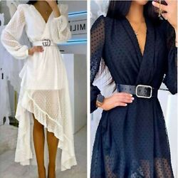 Women V Neck Long Sleeve Lace Causal Ruffle Formal Dress Evening Cocktail Party $16.99