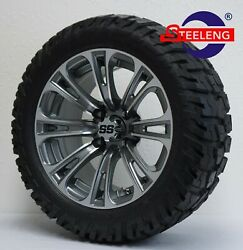 Golf Cart 14 Gunmetal Vector Wheels/rims And 22 And039gatorand039 A/t Tires Dot Rated