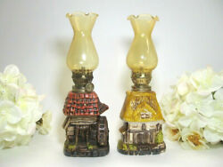 Pair Oil Lamps Woodland Cottages Vintage Collectible Kerosene Made In Japan