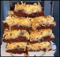 Homemade GERMAN CHOCOLATE Ooey Gooey Butter Cake Squares