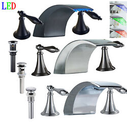 Led Widespread 8 Bathroom Basin Faucet Waterfall Tub Sink Mixer Tap Deck Mount