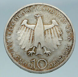 1989 Germany 200 Years City Of Bonn Vintage Eagle Old Silver 10 Mark Coin I86591