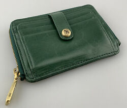 Hobo Wallet Card Case Green Leather Card Small Snap Closure Bifold Coin Purse $31.98