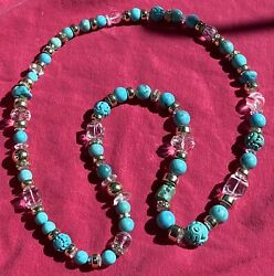 Antique Chinese Turquoise Shou And Dragon Beads, Faceted Crystal And Quartz Necklace