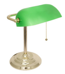Bankers Desk Lamp With Green Shade By Light Accents - Desk Light With Green And