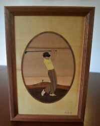 Hudson River Inlay Picture - Man Driver - Golf - Wood Marquetry By Nelson 7 X 10
