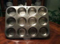 Vintage Silver Beauty Ekcoloy Ovenex T-120-12 Muffin Capcake Made In Usa