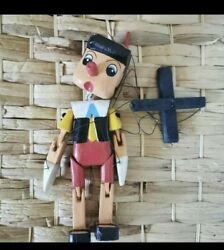 Pinocchio Hand Carved Painted Wooden Puppet Colourful Marionette 27cm