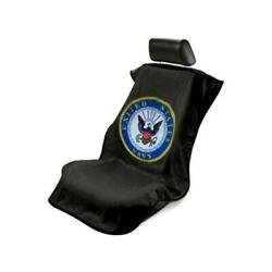 Seat Armour Front Car Seat Cover For Us Navy - Black Terry Cloth Sa200usnavy