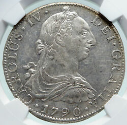 1790 Mo Fm Mexico Spain King Charles Iv Silver 8 Reales Mexican Coin Ngc I86630