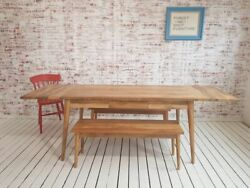 Mid-century Modern Extending Hardwood Dining Table And Bench Set - Free Delivery