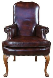 Classic Leather Mahogany Queen Anne Nailhead Accent Arm Chair Club Desk Library