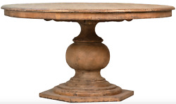59 Diameter Pine Wood Dining Table Solid Wood Sealed Antique Finish