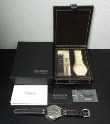 Azimuth Bombardier V Al1bb5sb Hand Winding Black Dial Stainless Leather Men's