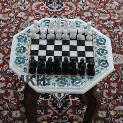 Christmas Discount Vintage Chess Set Game Board Pieces Marble Inlay Art Work
