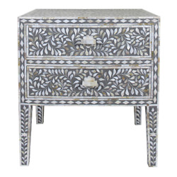 Personalized Mother Of Pearl Antique Floral Design Handmade Bedside Table