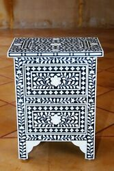 Personalized Handmade Bone Inlay Bedside Tables