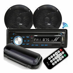 Pyle Marine Bluetooth Stereo Receiver And 6.5 Inch Speaker Pair With Remote Black