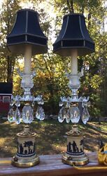 Pair Of Rare 3 Color Wedgewood Cut Glass Lamps Museum Quality