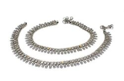 Traditional Indian Tribal Antique Real Silver Anklets For Women Pre-owned 12