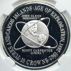 1975 Turks And Caicos Vintage Age Of Exploration Silver 10 Crown Coin Ngc I86671