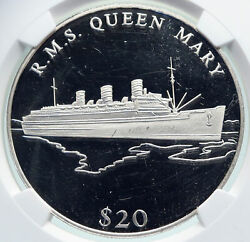 2000 Liberia Cruise Ship R.m.s. Queen Mary Boat Proof Silver 20 Ngc Coin I86672