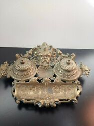 Rare Antique French Cast Golden-brass Dual Inkwell And Picture Frame Set