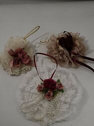 Vintage Christmas Tree Decorations French Country / Victorian Lot Of 3