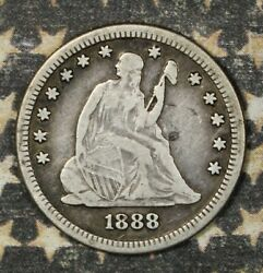 1888-s Seated Liberty Silver Quarter Collector Coin. Free Shipping