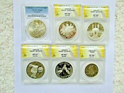 6 Olympic And Congressional Proof And Uncirculated Silver Coinand039s Pcgs And Anacs Graded