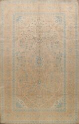 Muted Vegetable Dye Semi Antique Floral Kirman Area Rug Hand-knotted Wool 9'x11'