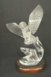 Large Waterford Crystal Owl Sculpture By Roy Cunningham 1990