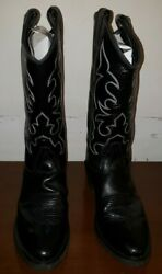 Old West Black Mens All Leather Stitch Narrow Round Toe 13in Cowboy Boots Sz. 11