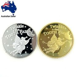 Tooth Fairy Coins Gold Silver Plated Collectibles Gift Birthday Kids Children